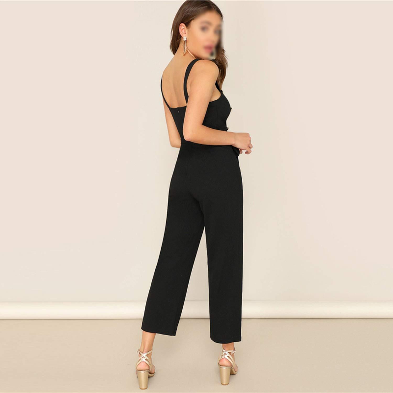 Ivyi Black Double Breaed Jumpsuit Women Ele2019 Summer Plain raps Sleeveless Party Jumpsuit