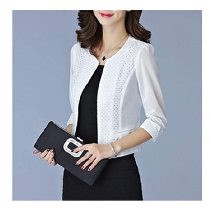 Women Cardigan Short Coat Mesh Pacthwork Hollow Transparent ...