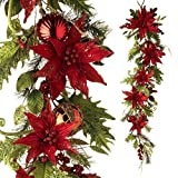 RAZ Imports - 54'' Christmas Poinsettia Holiday Garland - Ready for Your Banister or Entry