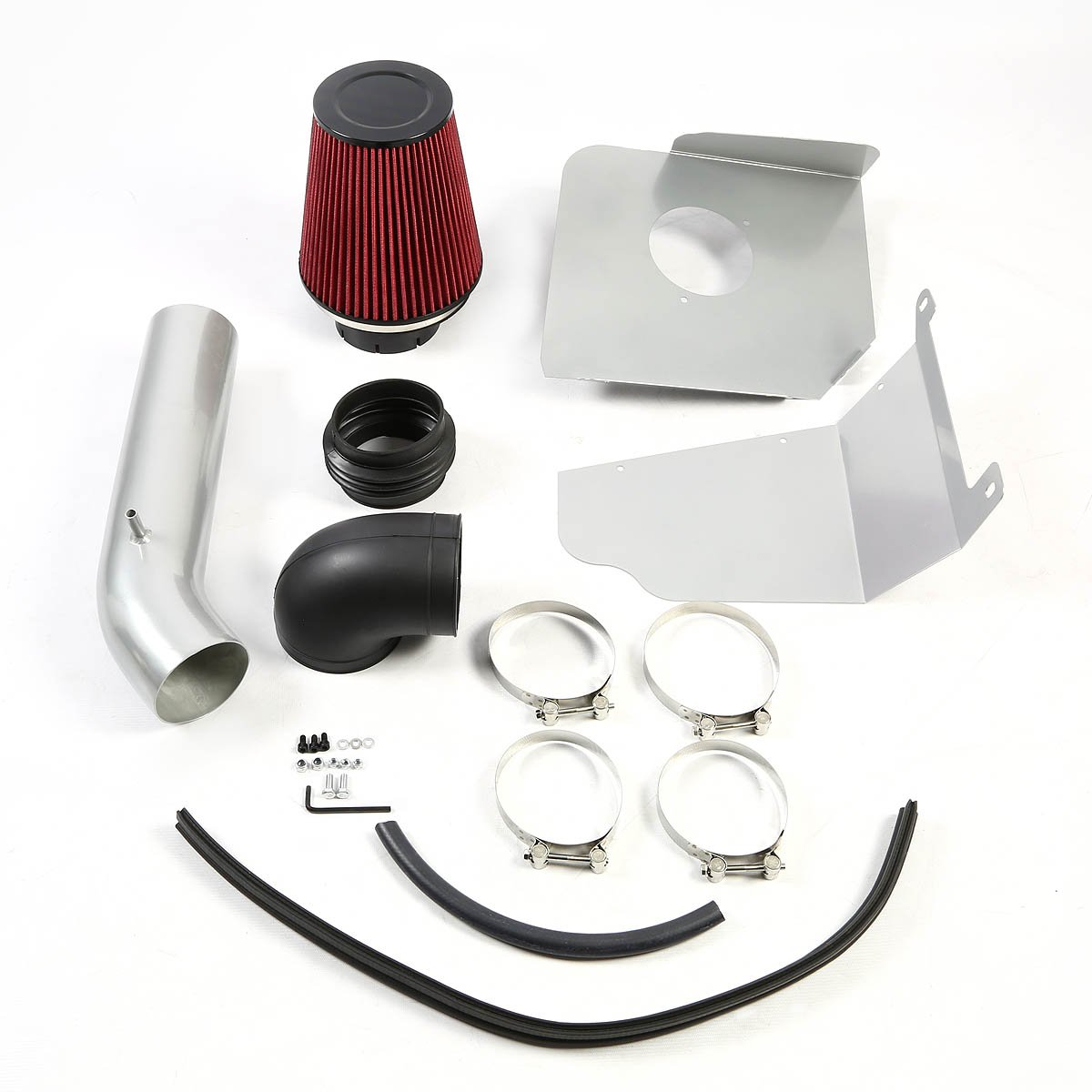 For Chevy Avalanche//Tahoe Silver Coated Aluminum Air Intake Pipe+Red Filter System
