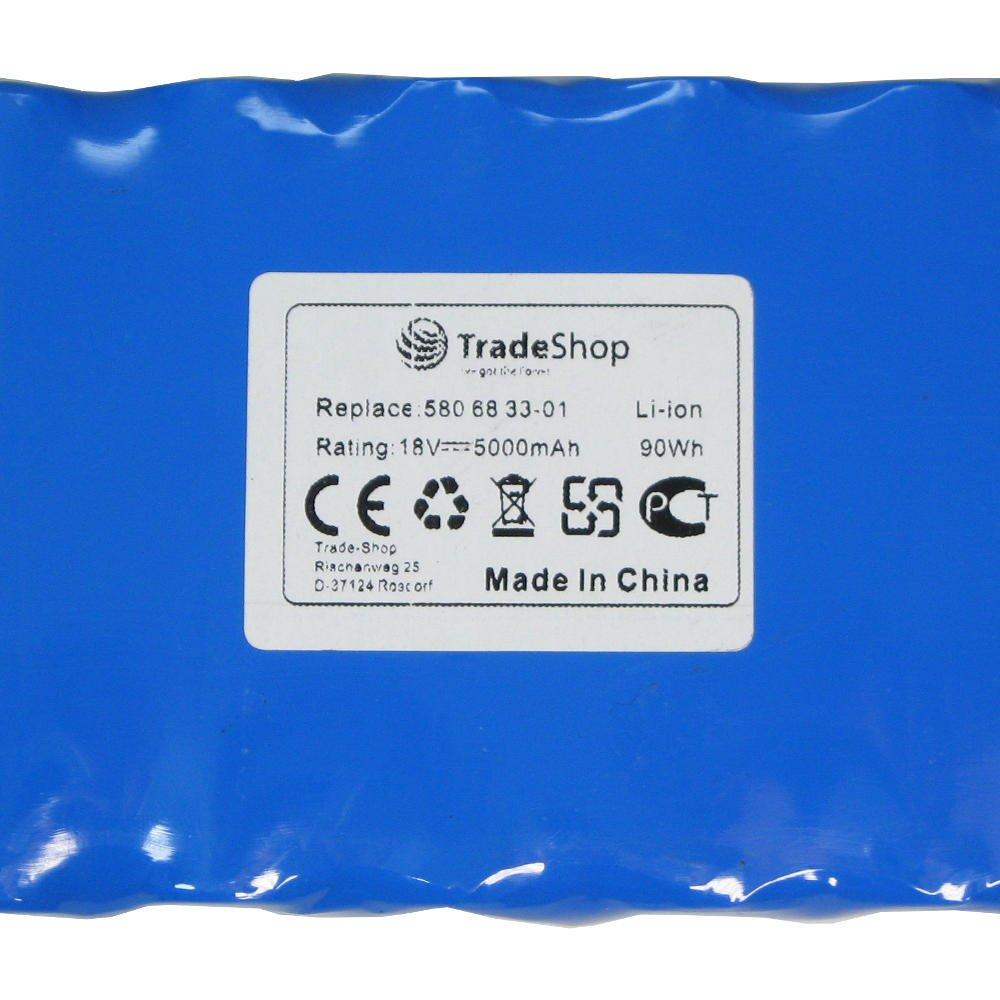 Batería de ion de litio Trade-Shop Premium, 18 V/5000 mAh para robot cortacésped Husqvarna, 320 330 x 420, 430, 450 450x sustituye a 580 68 33 – 01, ...