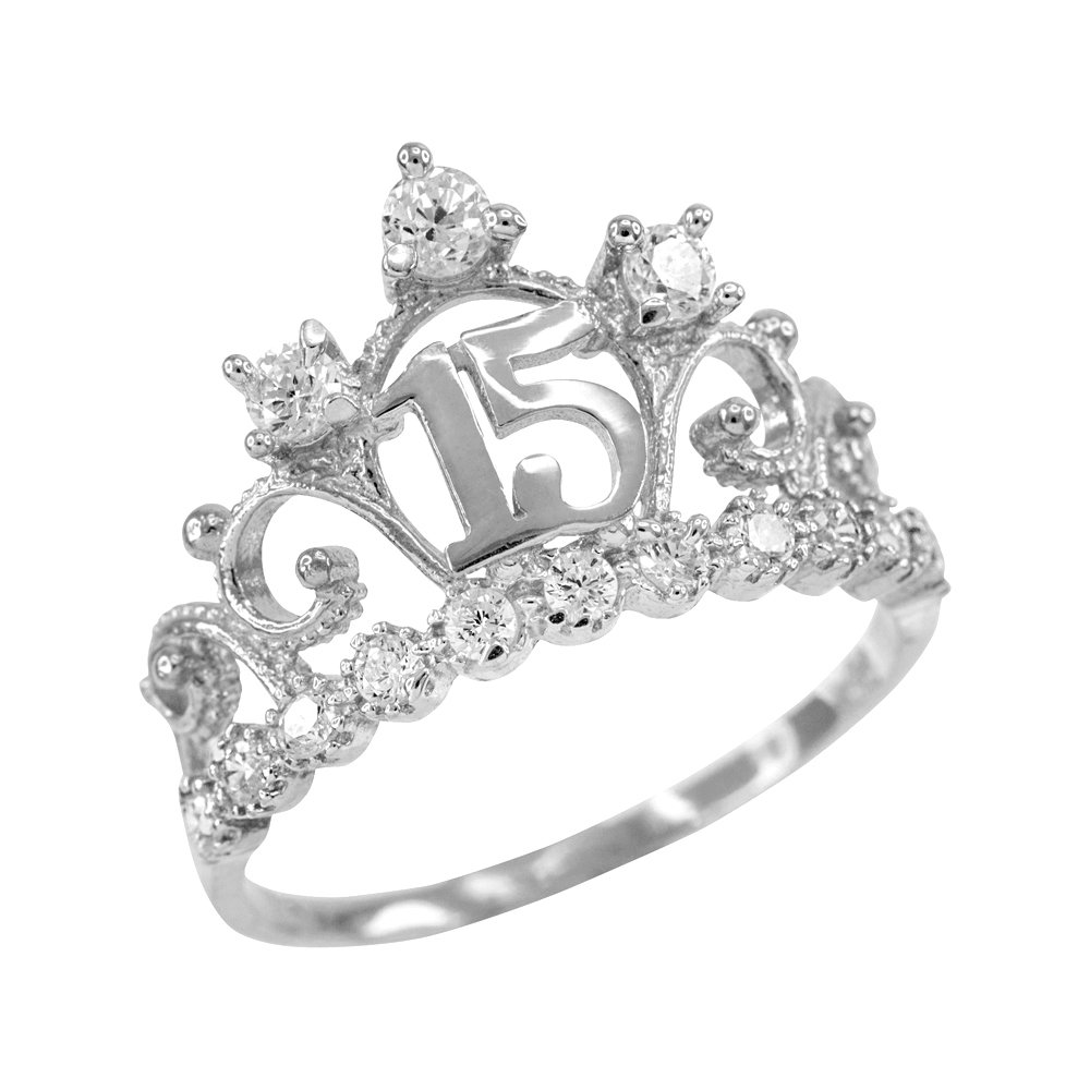 14k White Gold CZ-Studded Crown Sweet 15 Anos Quinceanera Ring, Size 11.25