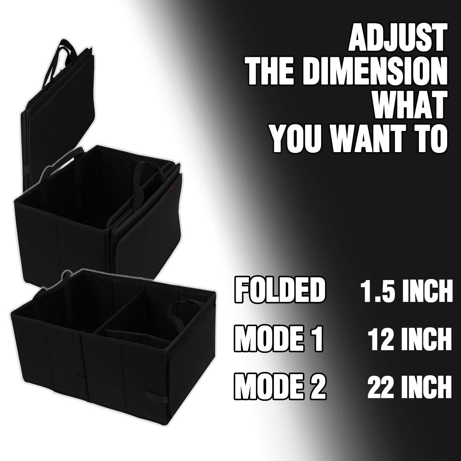 Strong Walls and Bottoms Trunk Organizer for Cars KMMOTORS Foldy Trunk Cargo Organizer Auto Sturdy and Collapsible Foldable Car Trunk Organizer for SUV Truck Sedan Big Size