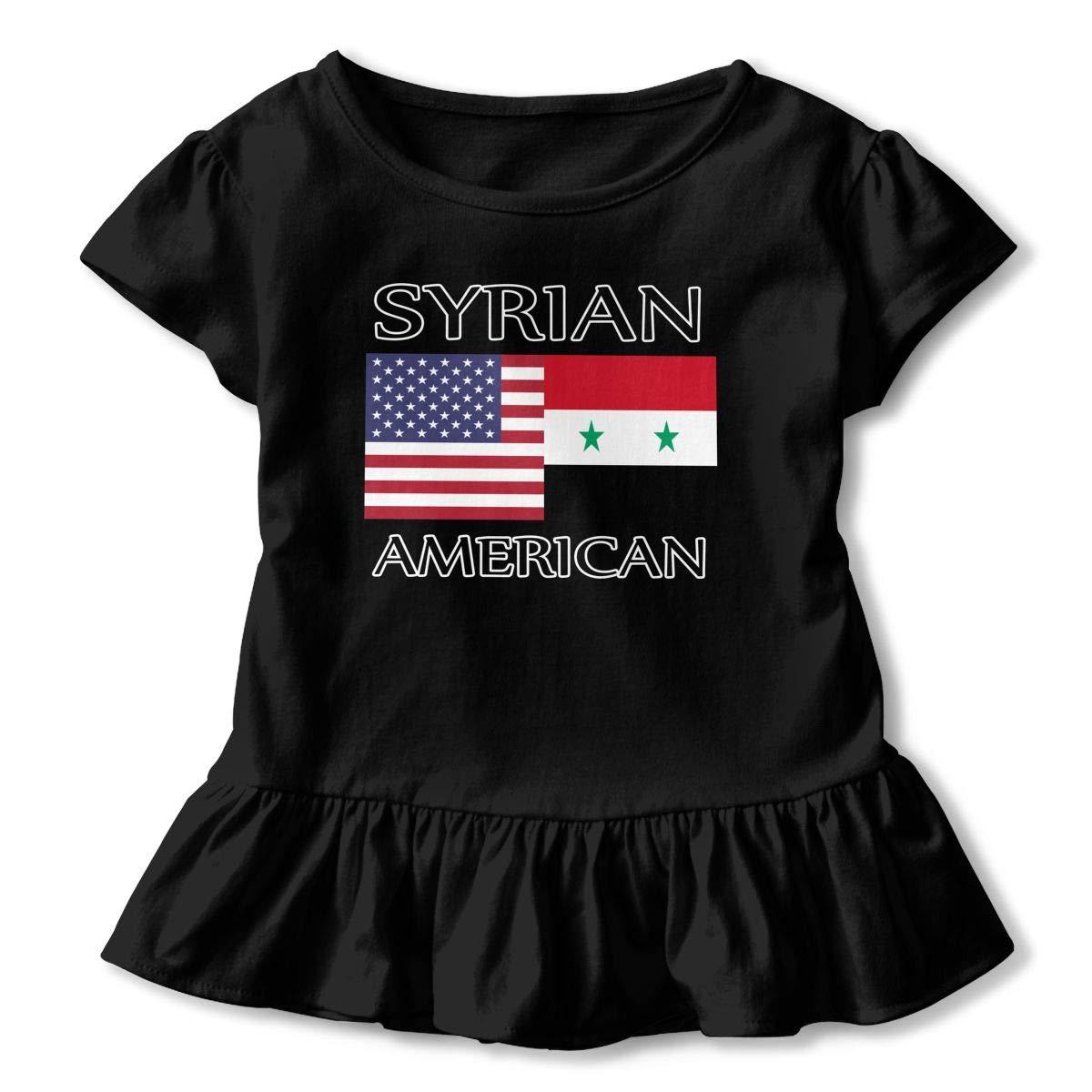 SHIRT1-KIDS Syrian American Flag Childrens Girls Short Sleeve Ruffles Shirt T-Shirt for 2-6 Toddlers