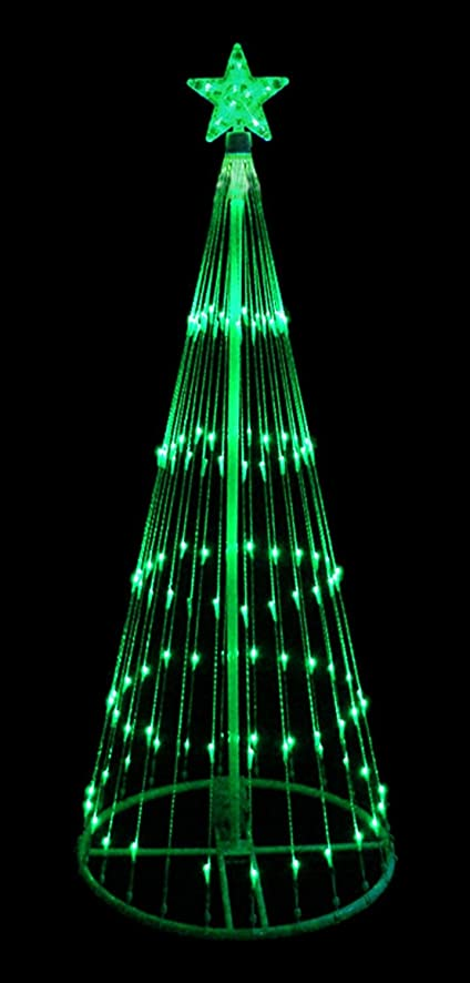 green led light show cone christmas tree lighted yard art decoration