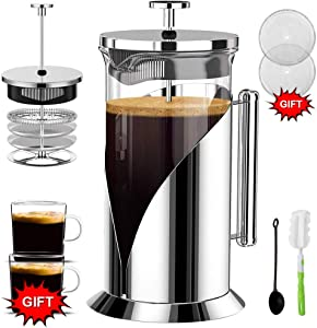 French Press Coffee Maker (34 Ounce) with 4 Level Filtration System - 304 Grade Stainless Steel - Heat Resistant Borosilicate Glass by QUQIYSO
