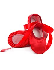 Yi-Life Girl's Pink Ballet Dance Shoes Split Sole with Satin Ballet Slippers Flats Gymnastics Shoes (Toddler/Little Kid)