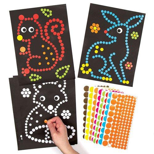 Pack of 8 Woodland Animal Dotty Art