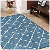 Superior Lattice Collection Area Rug, 6mm Pile Height with Jute Backing, Affordable and Contemporary Rugs, Modern Geometric Windowpane Pattern - 8' x 10' Rug, Blue