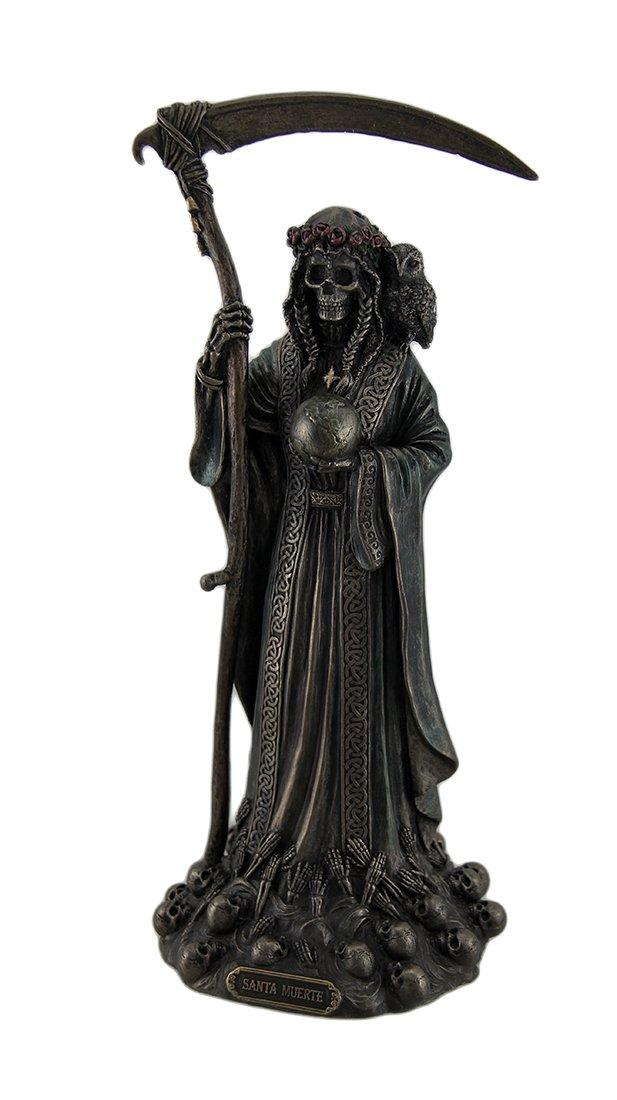 Resin Statues Santa Muerte Antique Bronze Finish Grim Reaper Statue 4.5 X 11.5 X 4.5 Inches Bronze
