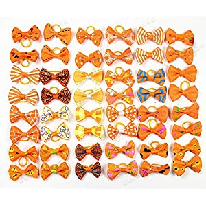 yagopet 40pcs/20pairs Small Dog Hair Bows Autumn Dog Bows Orange Dog Hair Bows Topknot Mix Designs Small Bowknot with Rubber Bands Pet Grooming Products Dog Hair Accessories 25