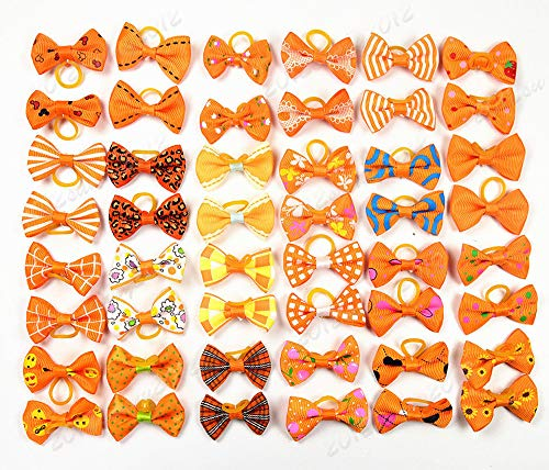 yagopet 40pcs/20pairs Small Dog Hair Bows Autumn Dog Bows Orange Dog Hair Bows Topknot Mix Designs Small Bowknot with Rubber Bands Pet Grooming Products Dog Hair Accessories