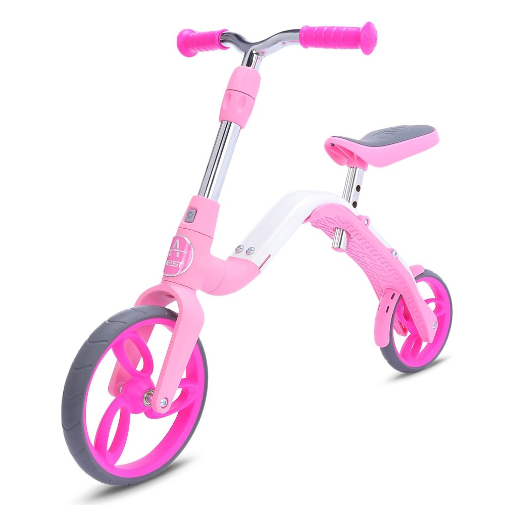 YOOYOO mini Kick scooter Balance Bike, Toddler 2 ruota uomouale Glider cavalcabile scooter e bici, bambino regolabile 2-in-1 Walker per bambini di età 3 – 5 anni