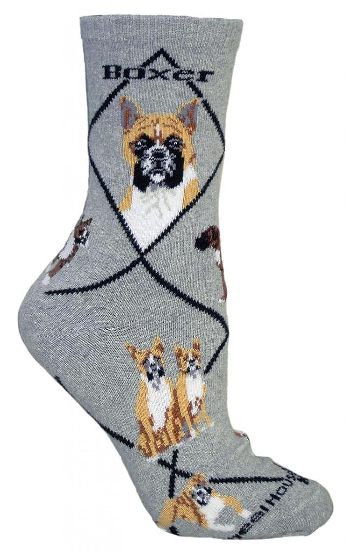 Amazon.com: Boxer Dog on Gray Animal Socks 9-11: Clothing