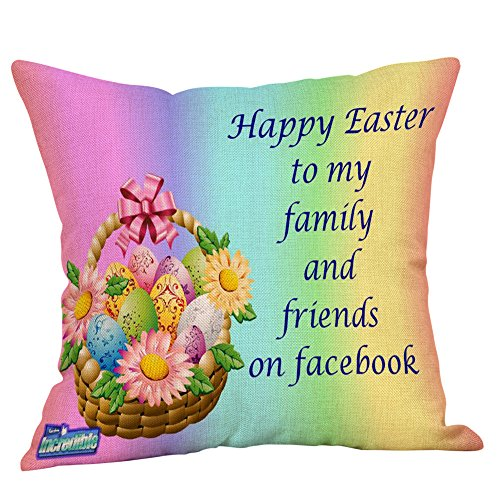 FEDULK Happy Easter Pattern Pillow Cases Linen Sofa Bed Cushion Cover Home Decor Pillowcase(A, One -