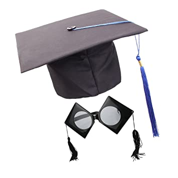 bcc28a98ab5 P Prettyia Academic Unisex Mortarboard Hat Tutor Trencher Master Doctor  Guraduation Sunglasses Grad Cap With Blue Tassel  Amazon.co.uk  Toys   Games