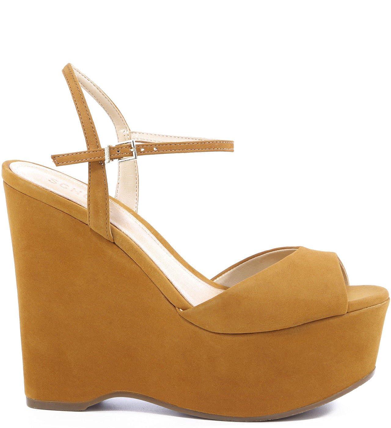 a3c6b69165f3f SCHUTZ Patrycia Saddle Brown High Platform Peep Toe Ankle Strap Wedge  Sandals