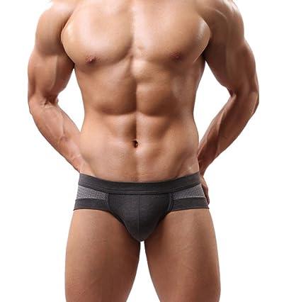 Ropa interior masculina Sexy Algodón Suave Impresión Respirable Transparente Estuche abultado talle bajo Calzoncillos boxer de
