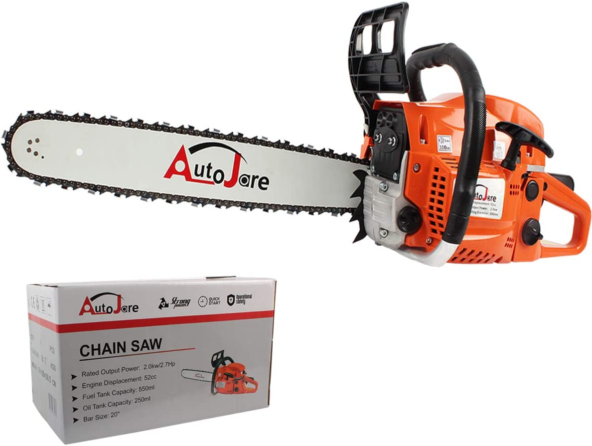 AUTOJARE New Gas Chainsaw,20 Bar 52cc Gas Powered Chainsaw 2 Stroke Handed Petrol Gasoline Chain Saw