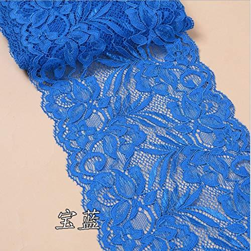 Ribbon Boyshort - New 15cmWidth Flower Elastic Stretch Lace Trim Ribbon Sewing Dress Skirt Handicrafts (Royal Blue)