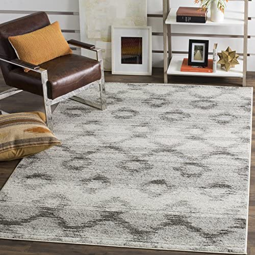 Safavieh Adirondack Collection ADR106P Silver and Charcoal Modern Distressed Area Rug 9 x 12