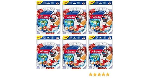Juego de 6 Vileda Turbo 2 in1 Easy Wring & Clean; 6 cabezales de repuesto: Amazon.es: Hogar