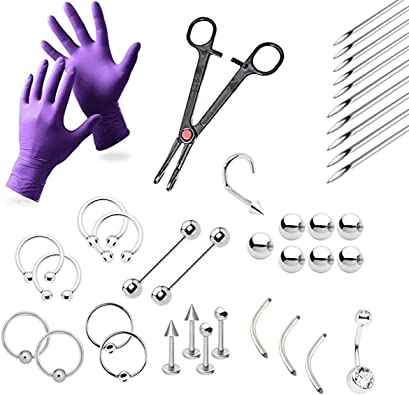 Body Piercing Tool Kit Piercing Jewelry Needles Kit Eyebrow Nipple Belly Tongue