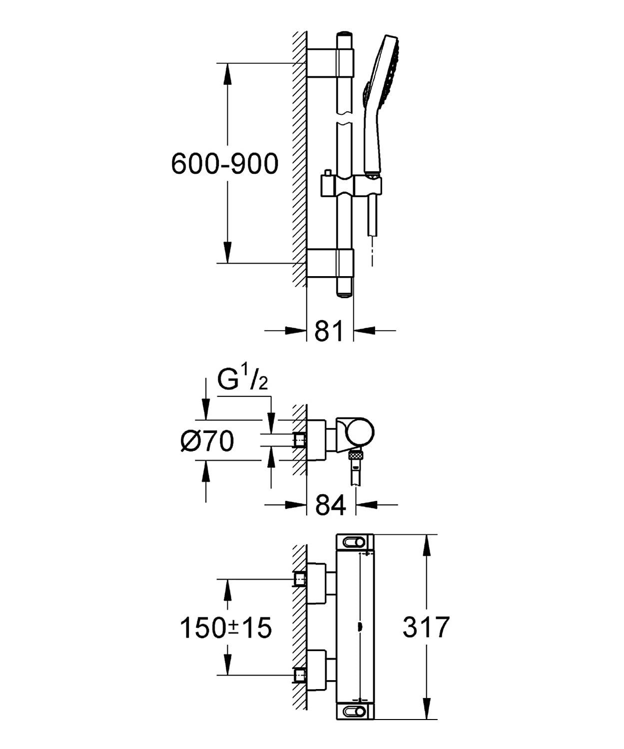 Grohe Thm Shower Mixer Grohtherm 2000 34482 With Showerset Ta1aw Electric Baseboard Heater Wiring Diagram Powersoul Chrome