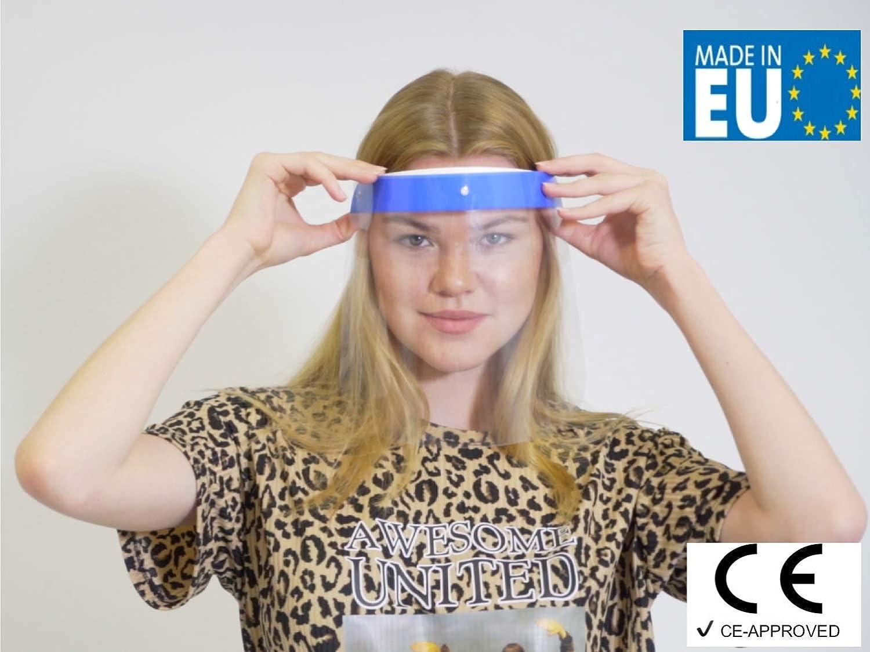 Blau- Made in Europe Face Shield Gesichts Schutzschild mit verstellbarem Gummiband f/ür M/änner Frauen Fredo/® Gesichtsschutz Plexiglas CE-gepr/üft /& zugelassen Aufklappbar Visier aus Kunststoff