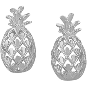 27d372190 Amazon.com: Tiny Sterling Silver Pineapple Stud Earrings 3/8 inch ...