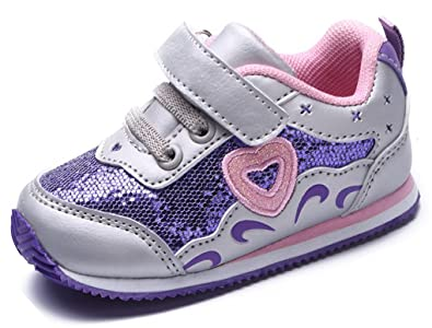 ceb8e95cc3458 VECJUNIA Fille Confortable Chaussures Premier Pas à Paillettes Motif du Cœur  Sole Souple Baskets Violet 24