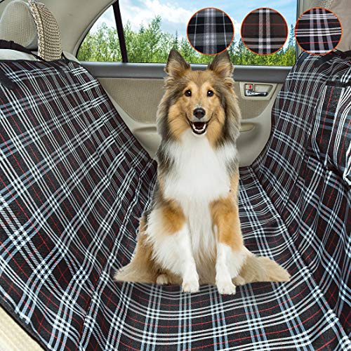 Coohom Dog Car Seat Covers,Waterproof Scratch Proof Nonslip Protector Pet Back Seat Covers,Scottish Grid Pattern Hammock Convertible for Cars Trucks and Suvs (Black)