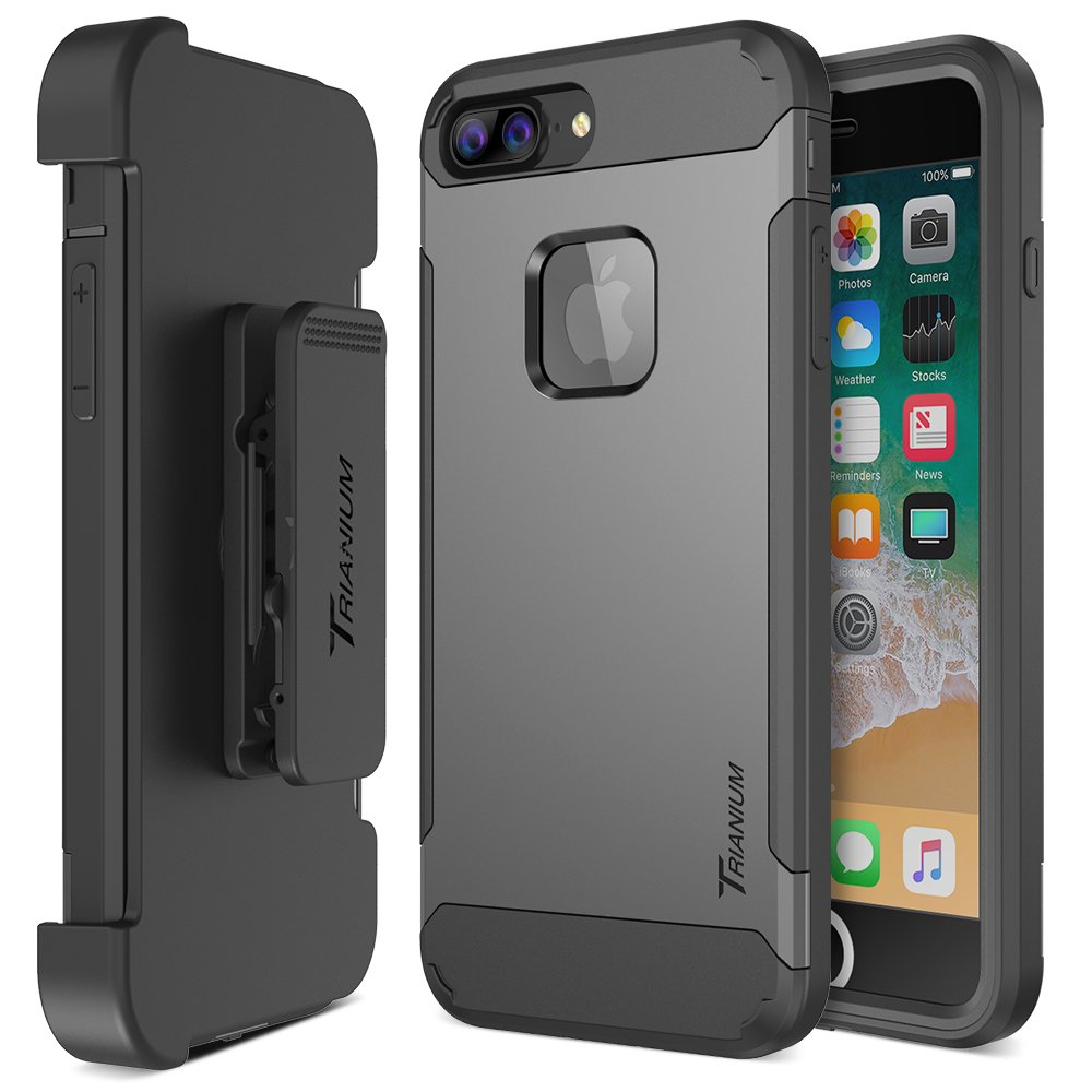 Trianium iPhone 8 Plus Case [Duranium Series] with Holster Case Heavy Duty Cover and Built-in Screen Protector for Apple iPhone8 Plus Phone (2017) Belt Clip Kickstand [Full Body Protection]- Gunmetal