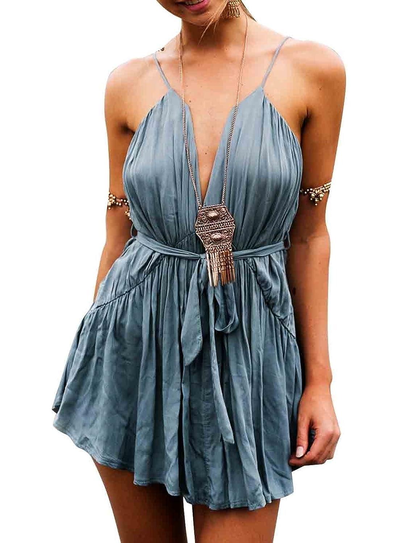 CRAVOG Damen Sexy Kleid Kurz V-Ausschnitt Taillenrock Jumpsuit Sommerkleider