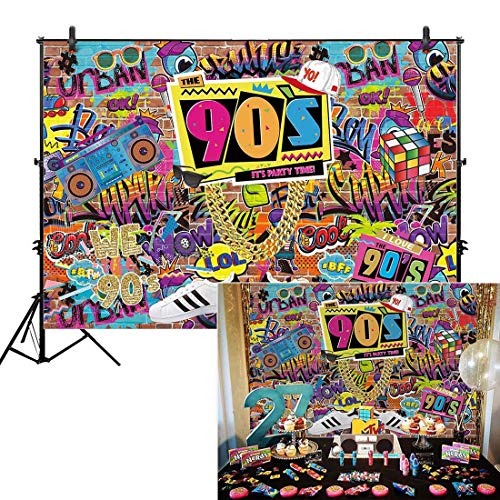 - Allenjoy 7x5' Fabric 90s House Party Backdrop for Hip Hop Rock Punk Music Dance Disco Retro Adult Birthday Colorful Graffti Brick Wall Event Banner Decorations Photo Booth Shoot Photography Background