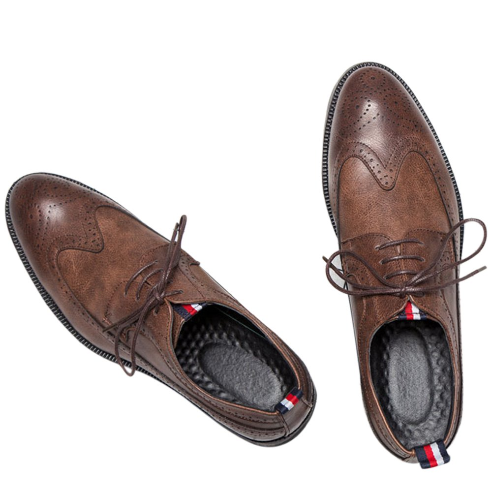 MHB Men's Wingtip Perforated Brogue Oxford Leather Shoes Cap-Toe Laces Classic British Style 11in Brown