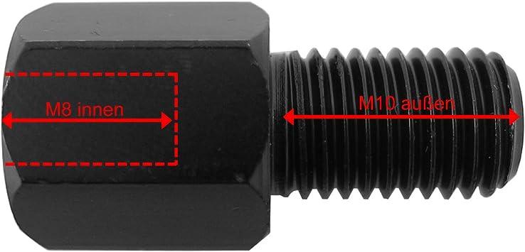 von M8/destro a M10/destro Adattatore per specchio