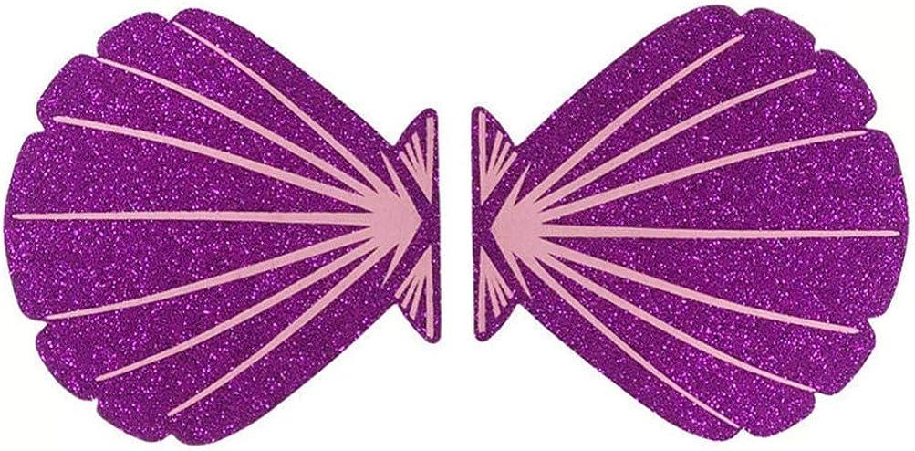 lila Holibanna 10 Paar muschelf/örmige nippel abdeckungen einweg Glitter Brust pasteten Brust abdeckungen f/ür Weihnachten Valentinstag Meer themenorientierte Party