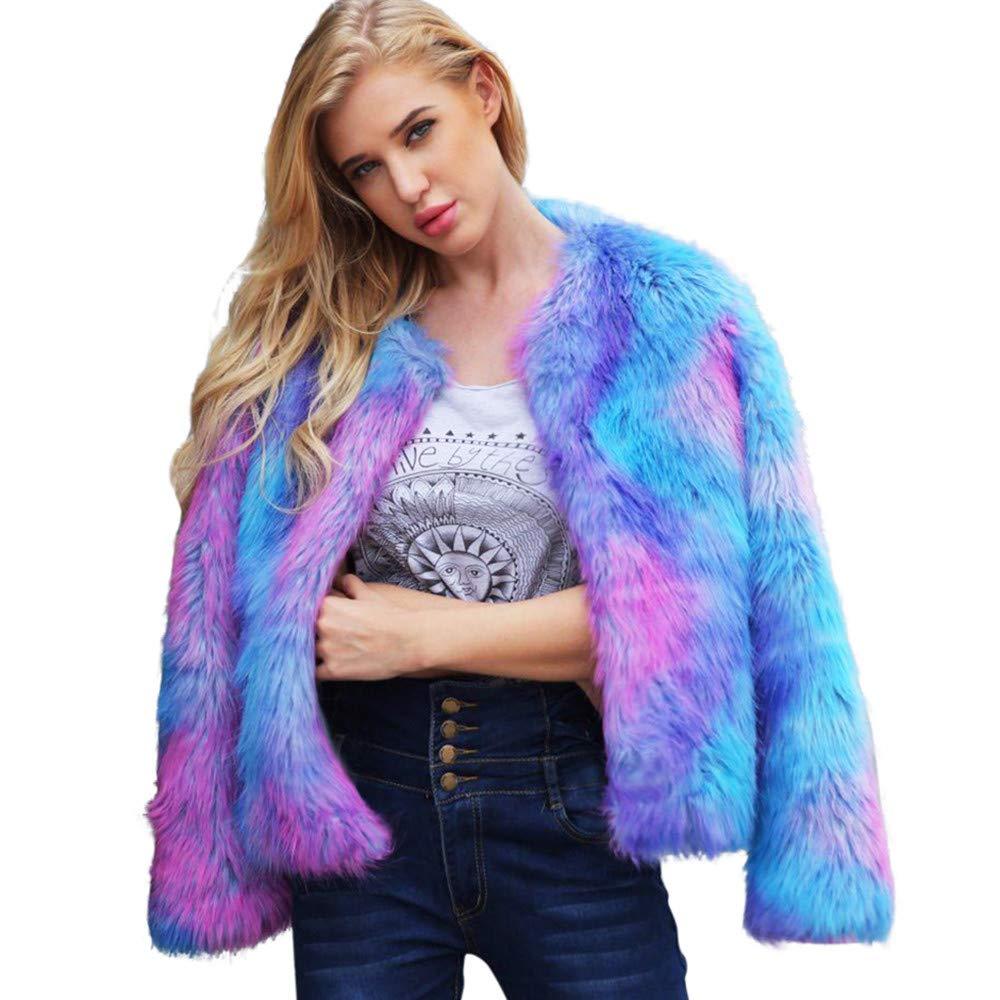 Realdo Womens Faux Fur Jacket, Coat Gradient Soft Parka