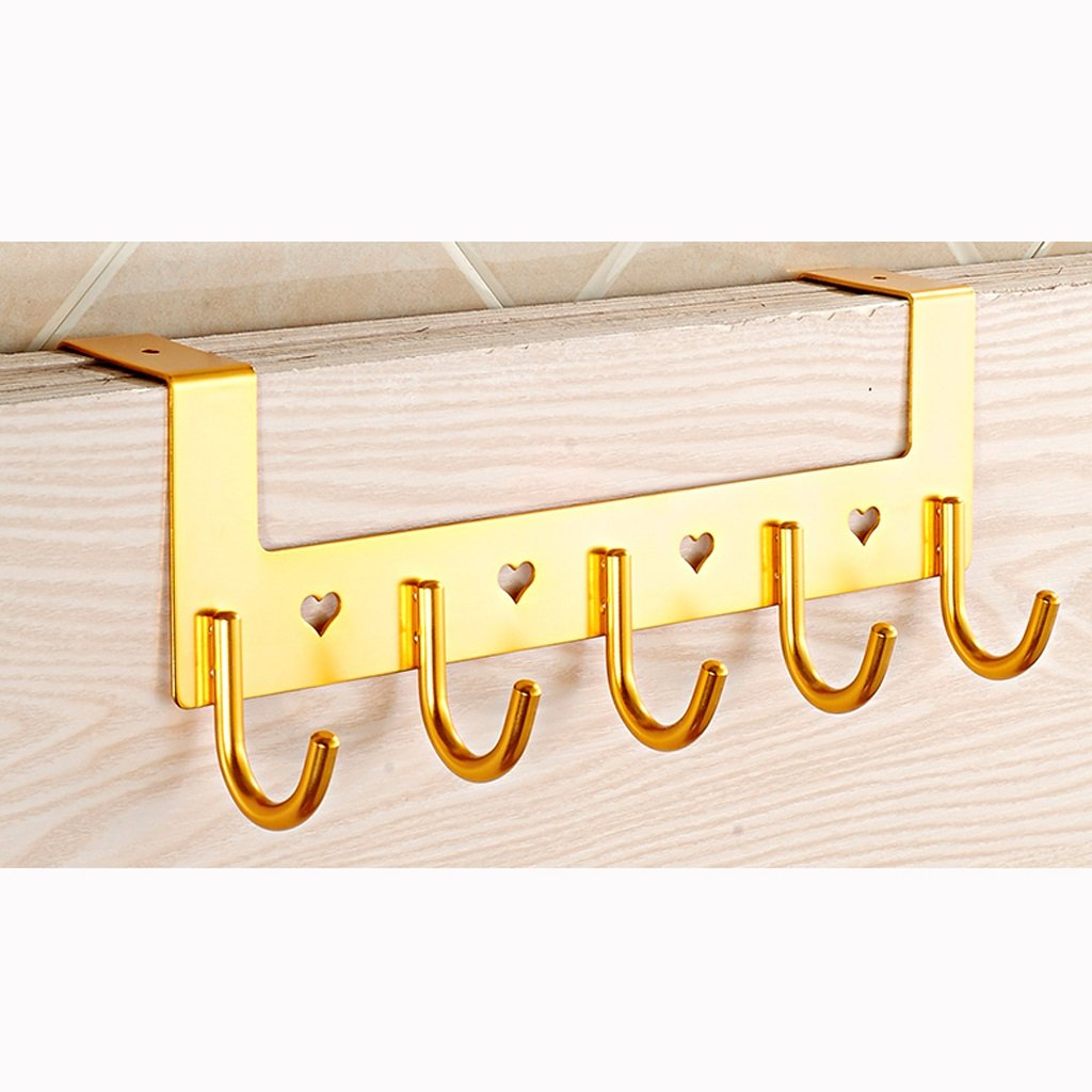 AIDELAI Coat Rack Coat Rack Hanging Hook Bathroom Bathroom Door Living Room Clothes Clothes Cloak Space Aluminum Creative Hook Row Hook (Color : Yellow) by AIDELAI (Image #1)