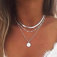 Yean - Collar de capas para mujeres y niñas: collar de plata, cadena con colgante de moneda y cadena con cuentas de…