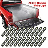 LED Truck Bed Lights, Ampper 12 V 60 LEDs Cargo Unloading Lighting Strips with On/Off Switch Fuse Splitter Cable for Truck Bed, Pickup, Rv, SUV (2 Strips, 20 Black Modules, White Light)