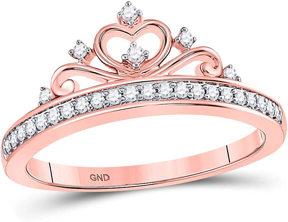 1//10 cttw, Diamond Wedding Band in 14K Pink Gold Size-10.5 G-H,I2-I3