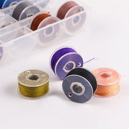 36 piezas de hilo de bobina de la máquina de coser con caja de almacenamiento, bobinas pre-bobinadas para Brother / Babylock / Janome / Elna / Kenmore ...