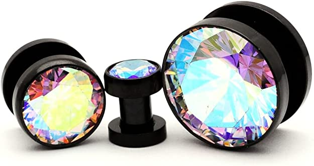 Full Moon Picture Plugs 7//16-11mm Mystic Metals Body Jewelry Screw on Plugs Sold As a Pair