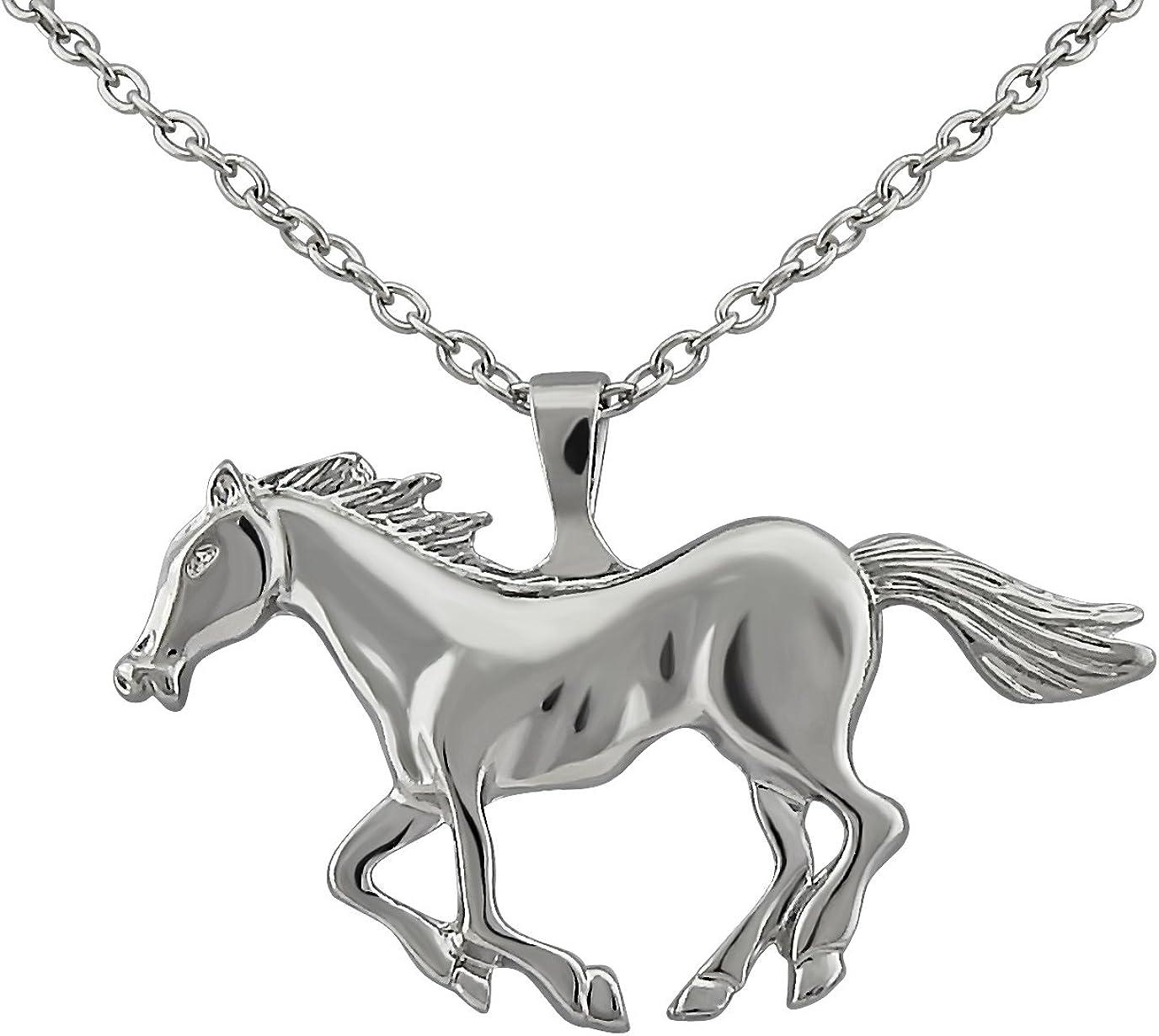 Hanessa - Collar de plata para mujer, diseño de caballo, ideal como regalo para los amantes de los caballos