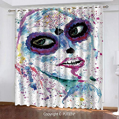 Satin Grommet Window Curtains Drapes [ Girls,Grunge Halloween Lady with Sugar Skull Make Up Creepy Dead Face Gothic Woman Artsy,Blue Purple ] Window Curtain for Living Room Bedroom Dorm Room Classroom]()