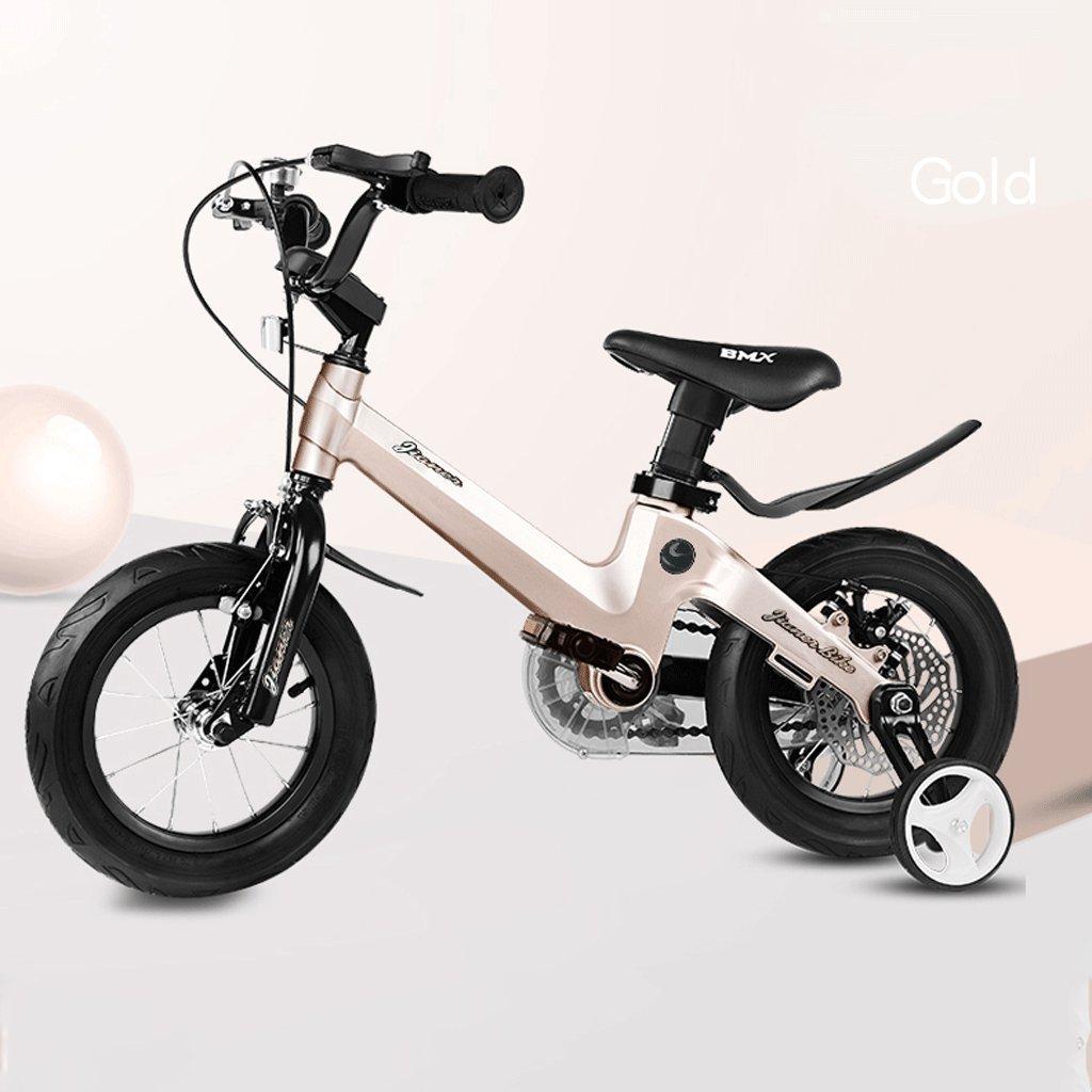 子供の自転車ベビーバイク2-10歳のベビーカーの少女の自転車18インチ (色 : ゴールド) B07D3RP5FXゴールド