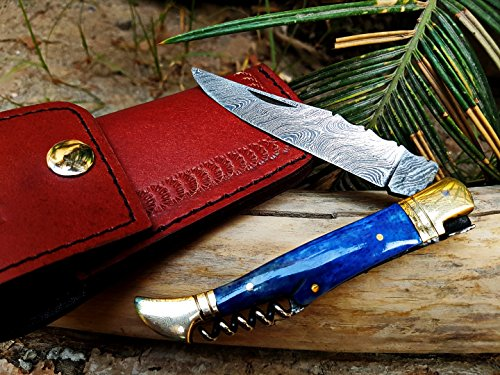 BMK-112 Monarch Pride Knife 4 Inc Blade Handmade Damascus laguiole Knife Corkscrew Bottle Opener Black Mamba Hand Made Word Class Knives -