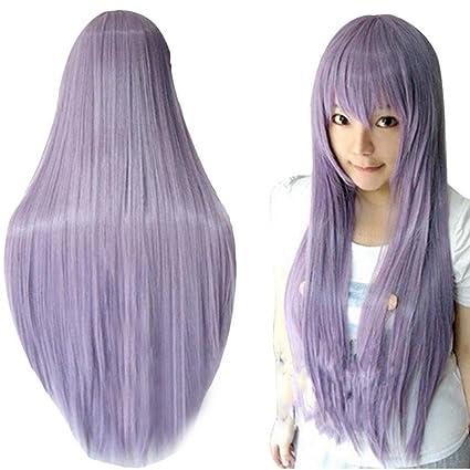 Vovotrade 80CM de largo derecho peluca multicolor a prueba de calor pelucas llenas (púrpura)